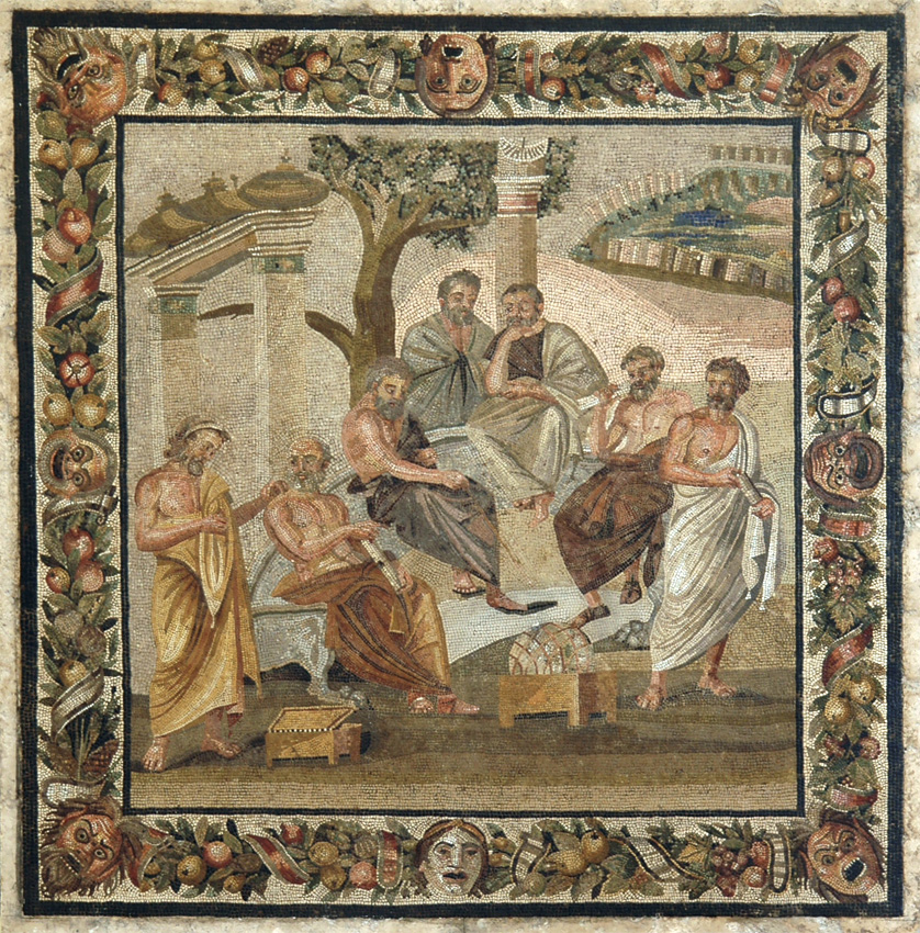 Plato's academy. Mosaic from Pompeii (Villa of T. Siminius Stephanus). Second style. Early 1st century B.C. Inv. No. 124545. Naples, National Archaeological Museum.